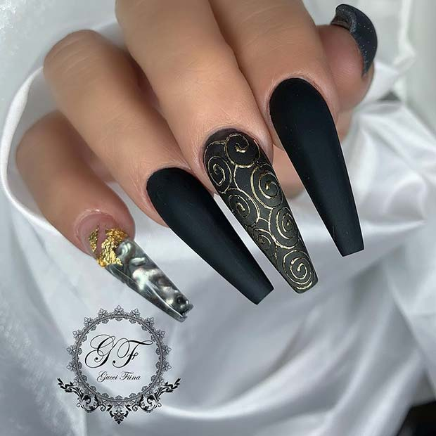 Long Coffin Nails with Trendy Swirls