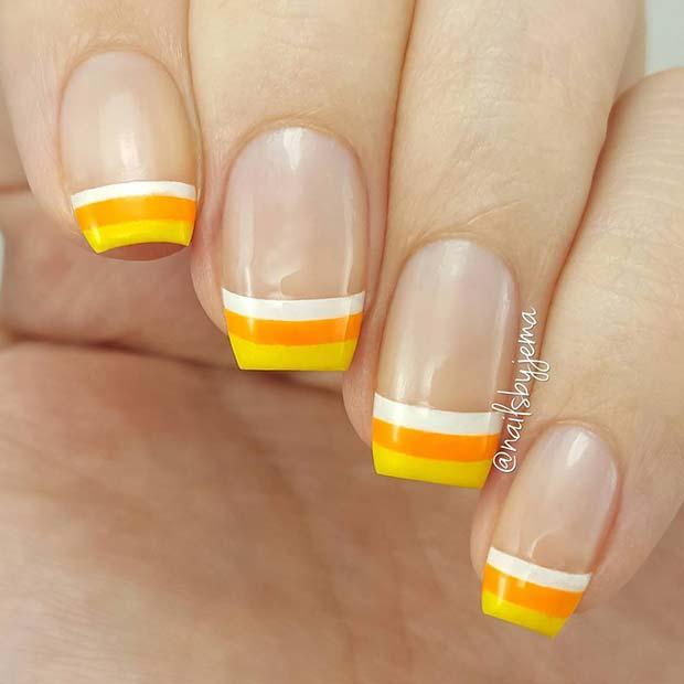 Cute Candy Corn Nail Idea