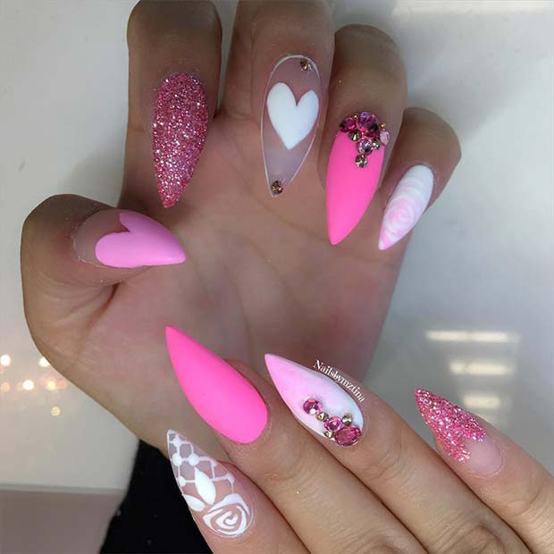 Cute Pink and White Stiletto Nails