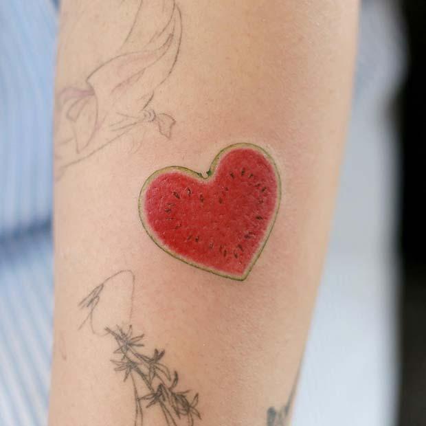 Cute Watermelon Heart Tattoo Idea