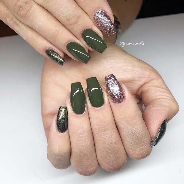 Dark Green and Glitter Gel Nail Design