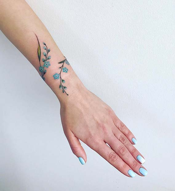 Flower Design On The Wrist Henna Tattoo: 43 Beautiful Flower Tattoos For Women