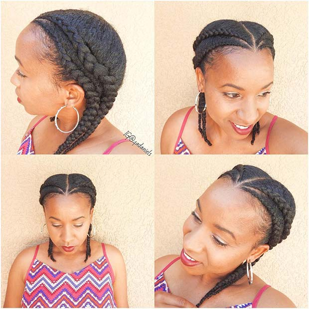 Double Cornrows for Short Natural Hair