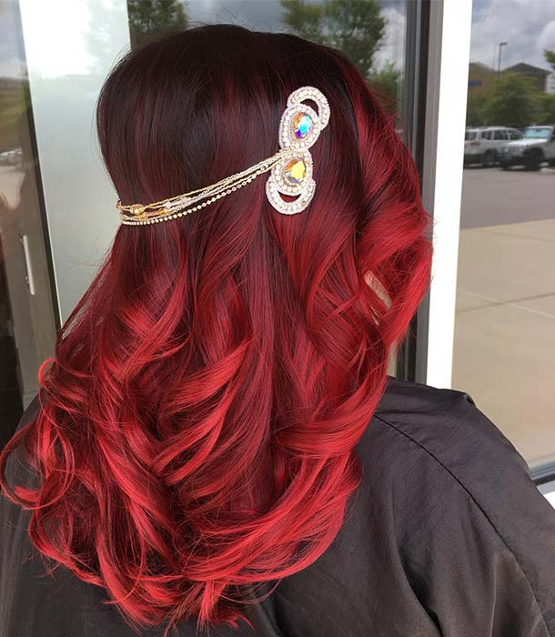 Elegant Black and Red Hair Color Idea