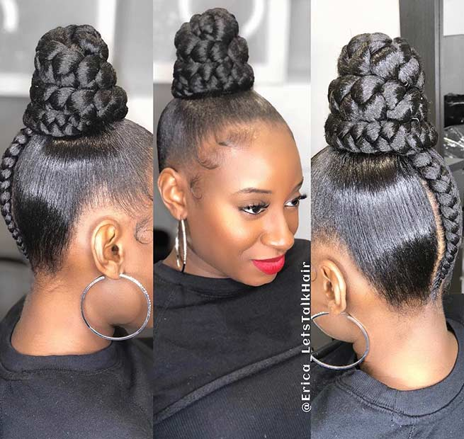 Elegant Braided Bun with Weave