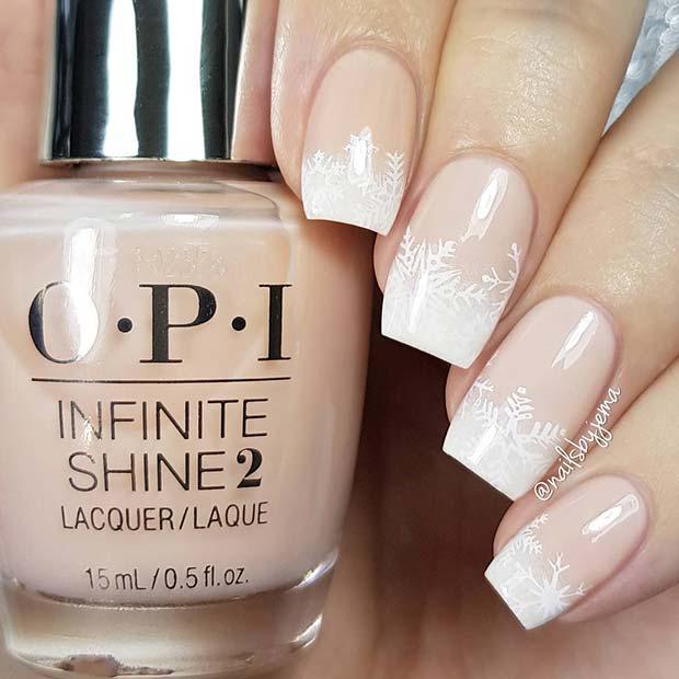 Elegant, Snowflake French Tip Nails
