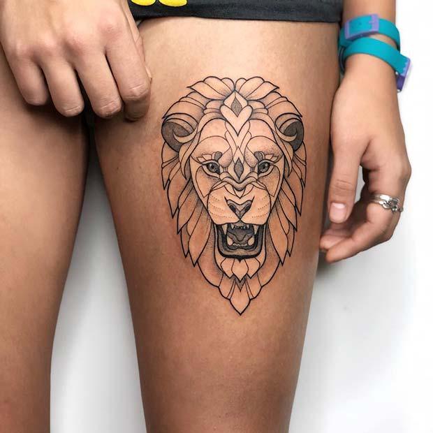 Fierce Lion Thigh Tattoo