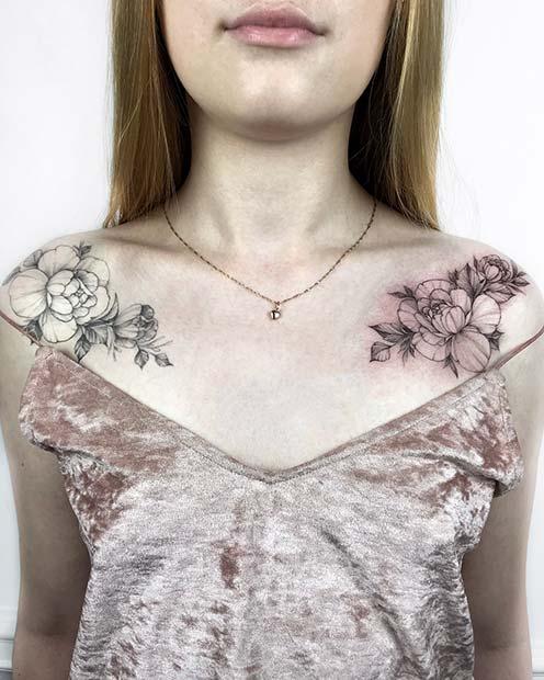 Floral Matching Shoulder Tattoos