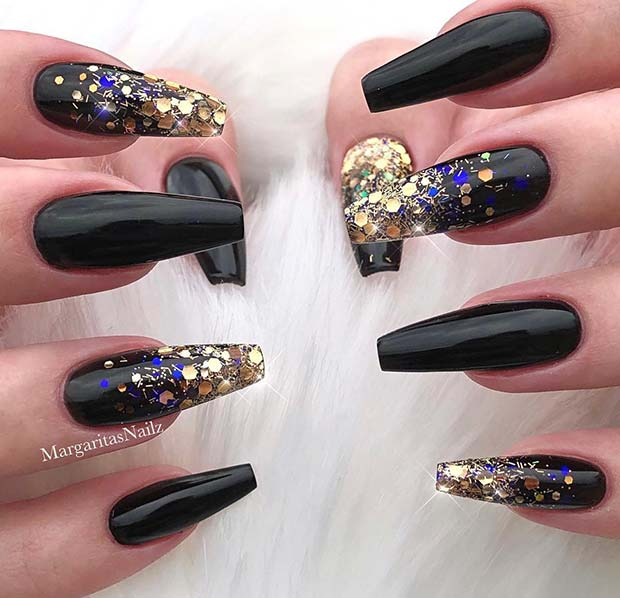 Black and Gold Coffin Nails