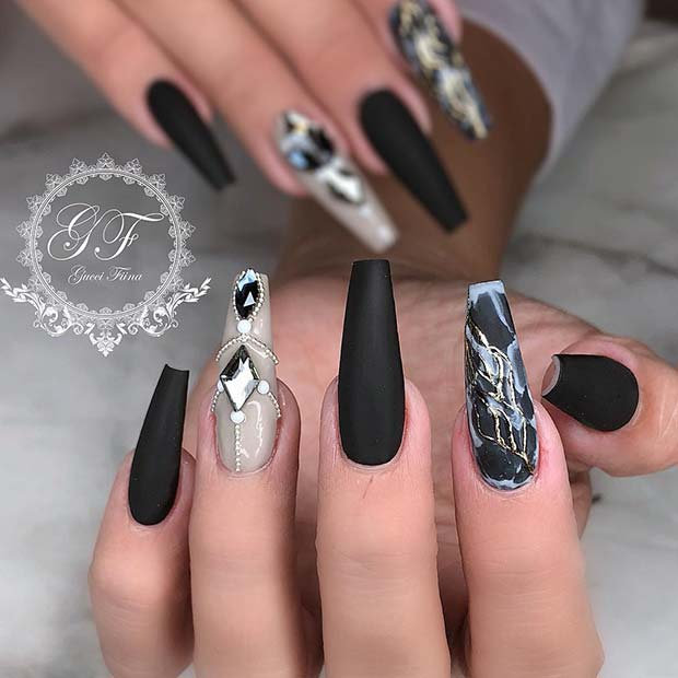 Black Coffin Acrylic Nails