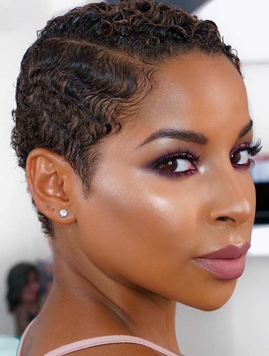 Glam Short Hairstyle for Black Women