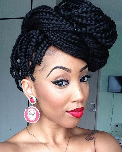Box Braids into a Braided Updo