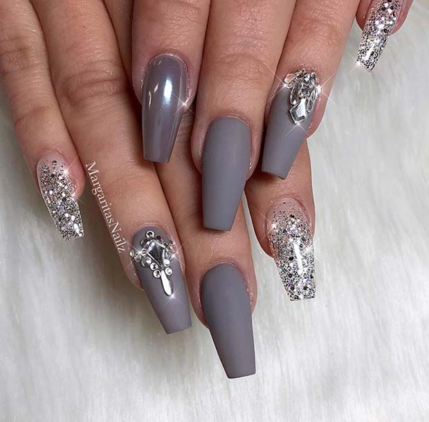 Glitter and Matte Grey Coffin Nails
