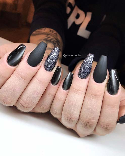 Glitter and Matte Coffin Nails