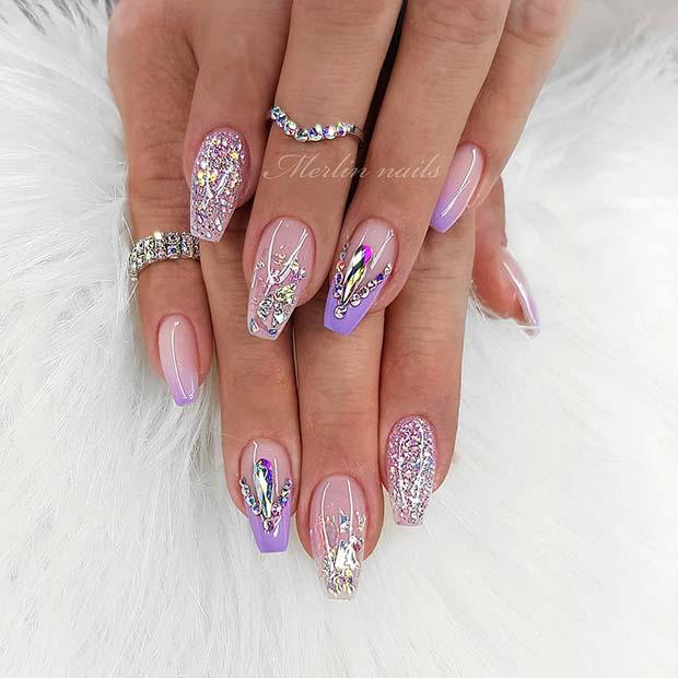 Pretty Gel Nails with Rhinestones