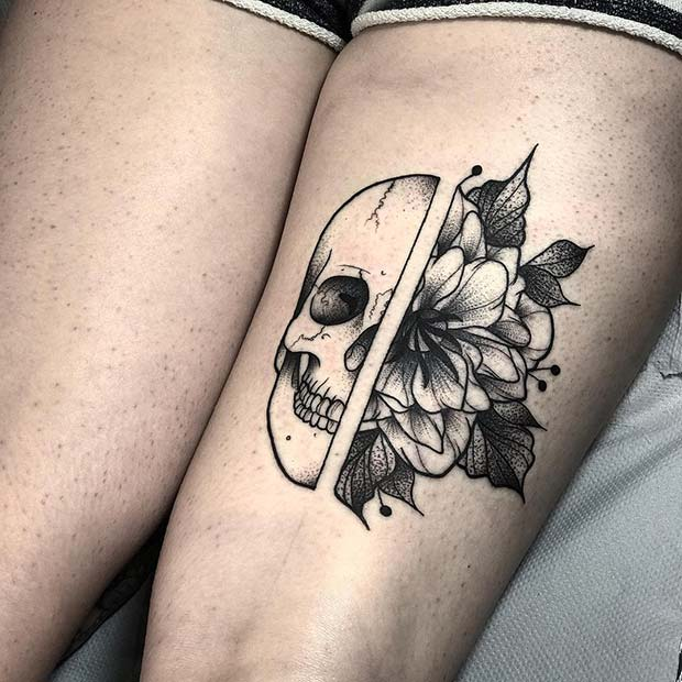 Half Skull, Half Flower Thigh Tattoo