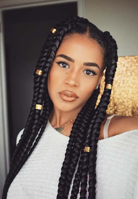 61 Best Jumbo Box Braids Hairstyles Page 4 Of 6 Stayglam