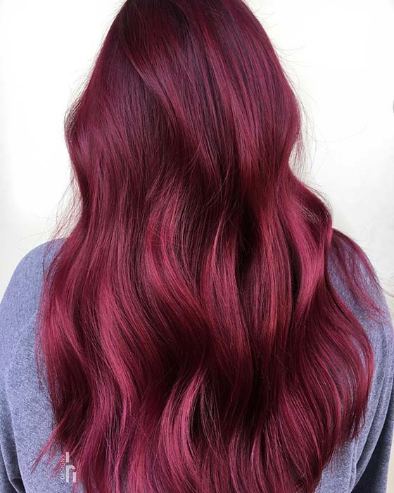 Long, Bright Burgundy Hair