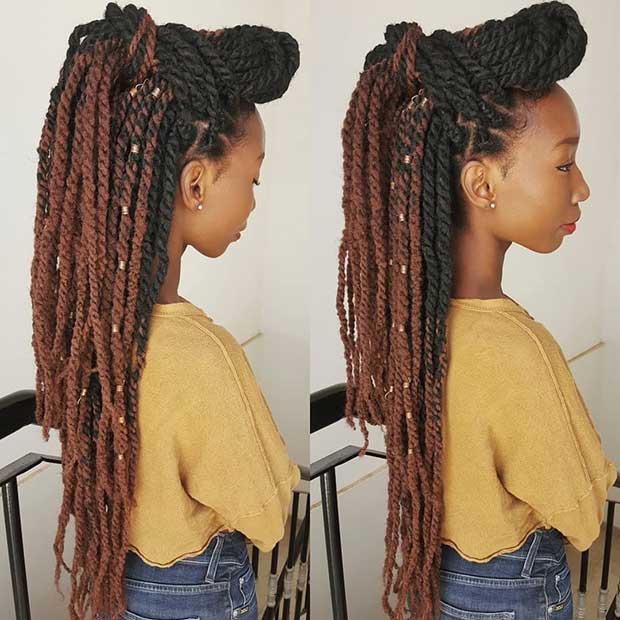 23 Hot Marley Twist Hairstyles To Try Right Now