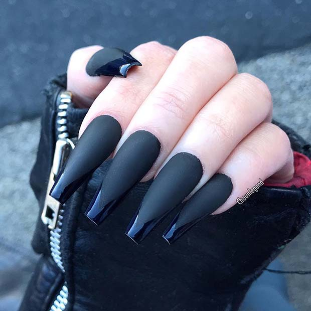 Matte Black Coffin Nails with Glossy Tips