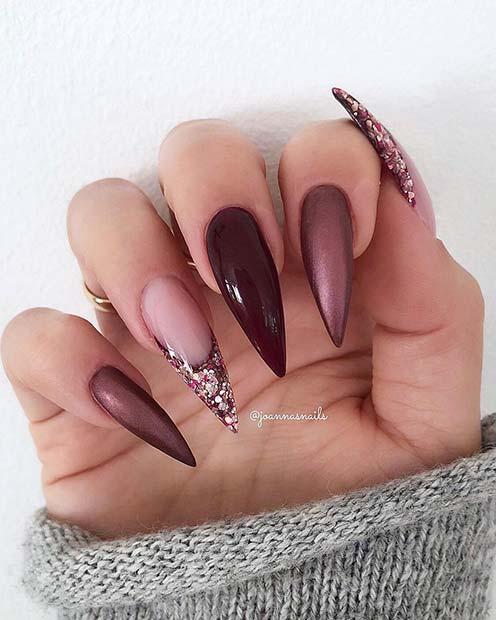 Metallic, Glossy and Glitter Stiletto Nails