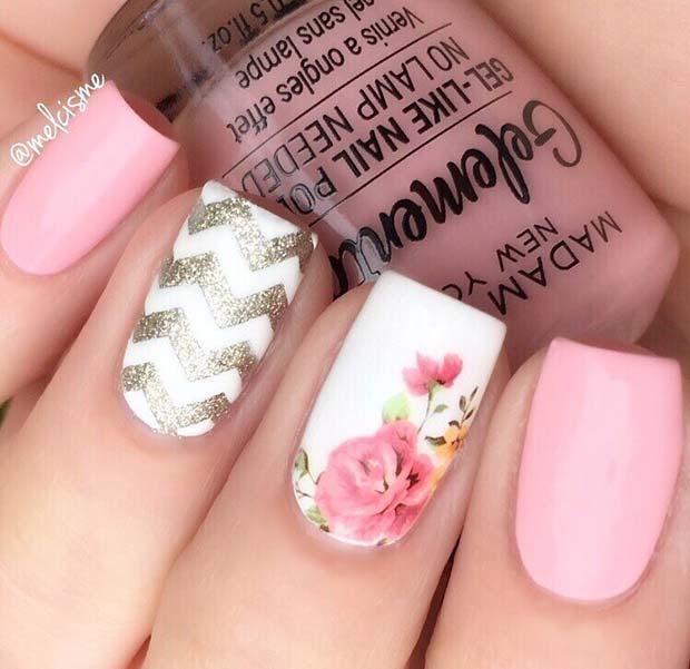 Cute Floral Gel Nail Design