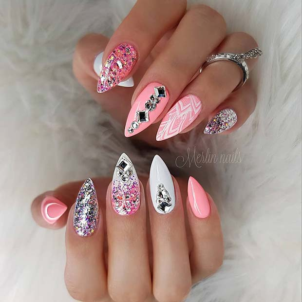 Sparkly Pink and White Nails