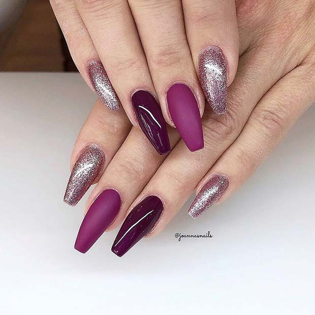 Glitter and Matte Gel Nails