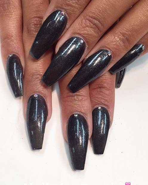 Shimmery Black Coffin Nails with Crystals