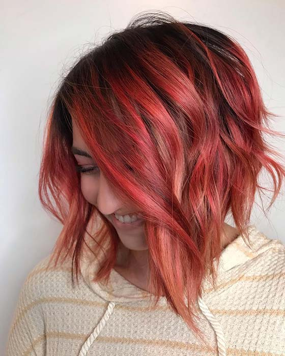 Soft Red and Black Messy Bob