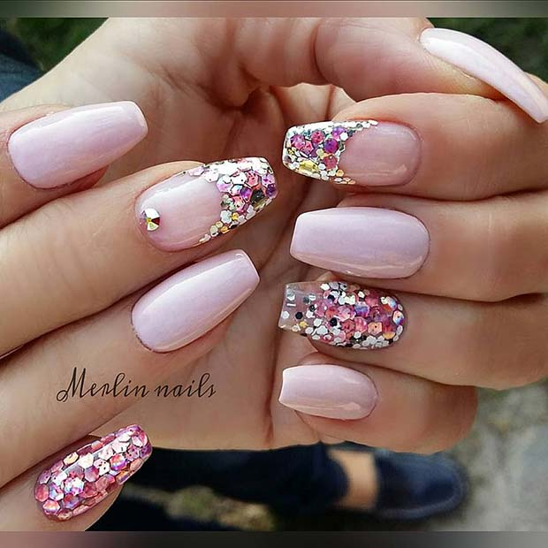 Light Pink Nails with Sparkly French Tips