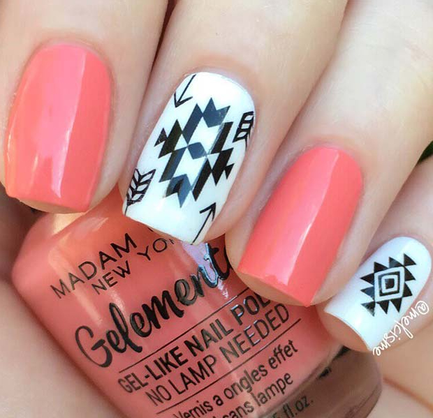 Stylish Gel Nails with Tribal Art
