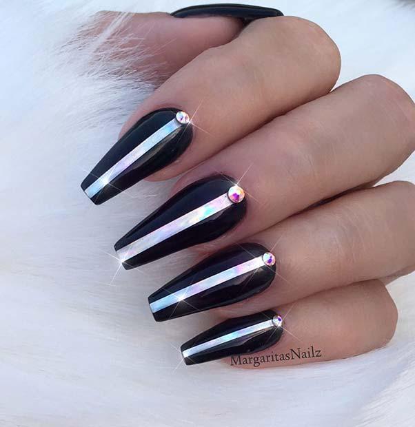 Sparkly Black Nail Design