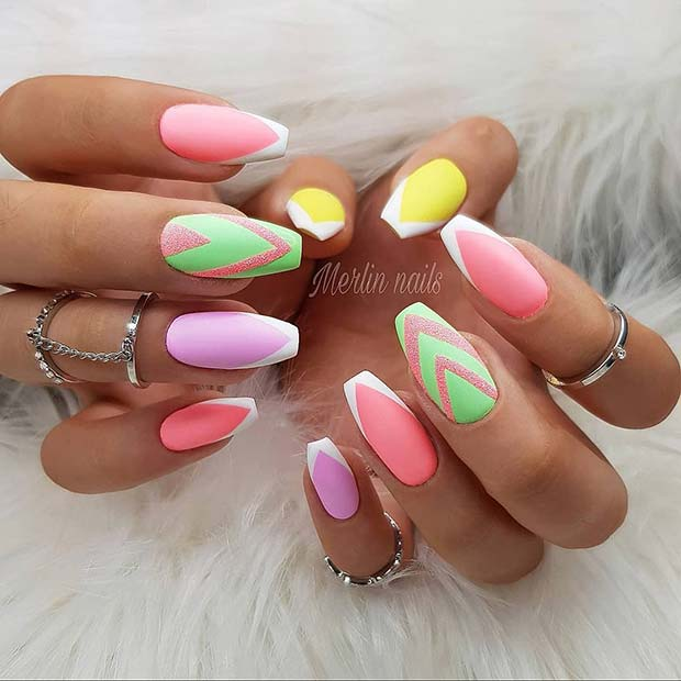 Neon Nails with White French Tips