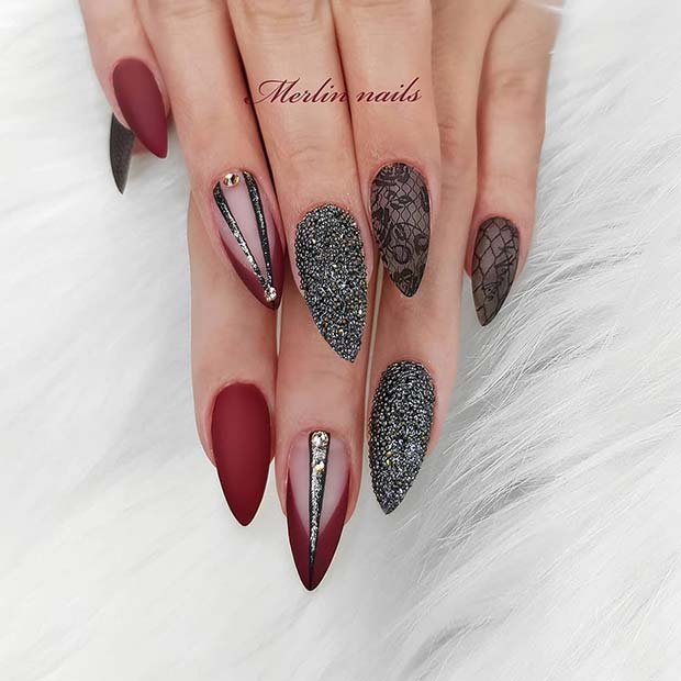 Trendy, Lace and Red Gel Nails