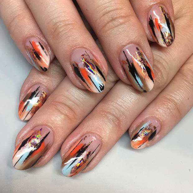 Trendy Patterned Gel Nails