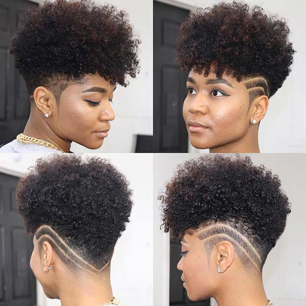 Trendy Patterned Short Natural Hairstyle