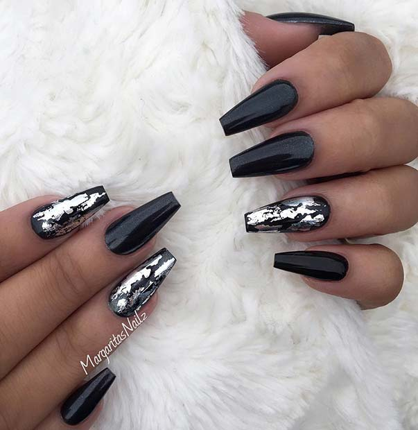 Trendy Silver and Black Coffin Nails