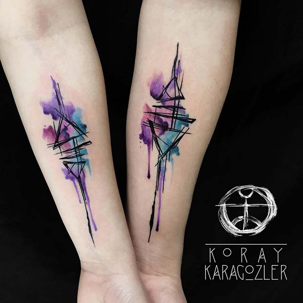 Trendy Watercolor Tattoo Idea for Couples