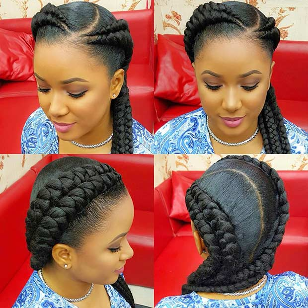 Two Cornrow Braids with Weave