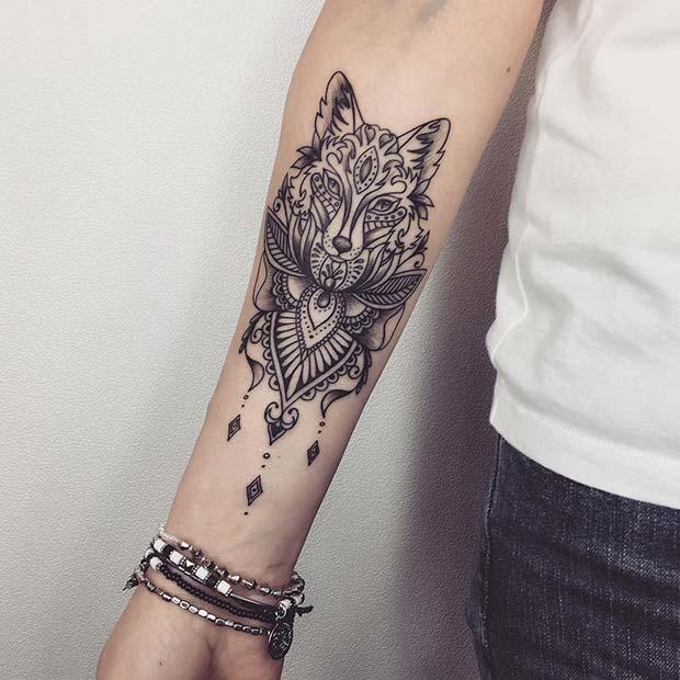 Unique Wolf Tattoo Idea for Women