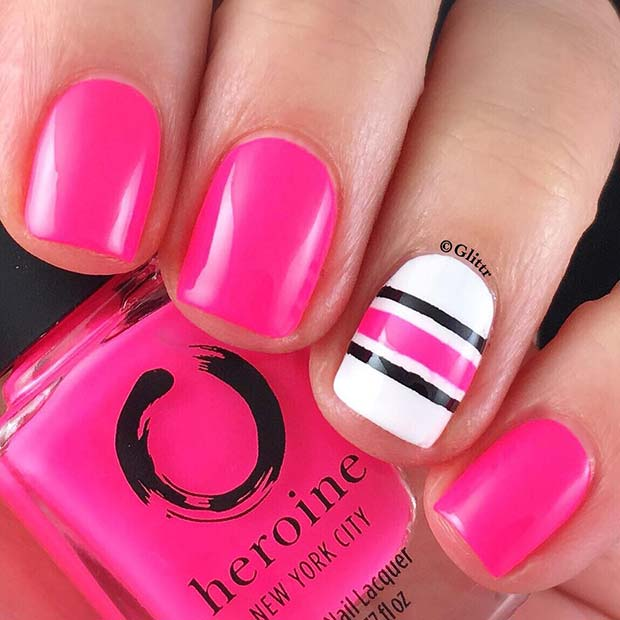 Vibrant Pink Nails with a White Accent Nail