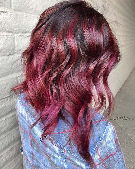 Wavy, Light Burgundy Ombre