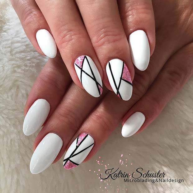 White Nails with Trendy Accent Designs