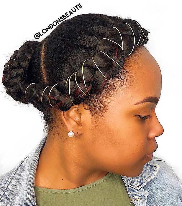Accessorized Halo Braid with a Bun