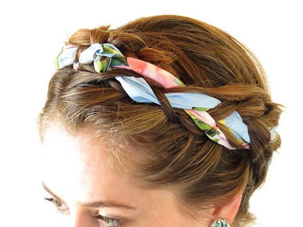 Accessorized Ribbon Halo Braid