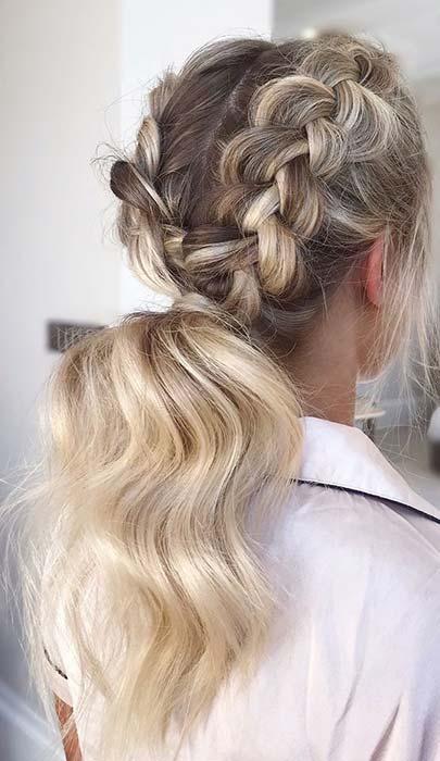 Beautiful Messy Braids and Ponytail Idea