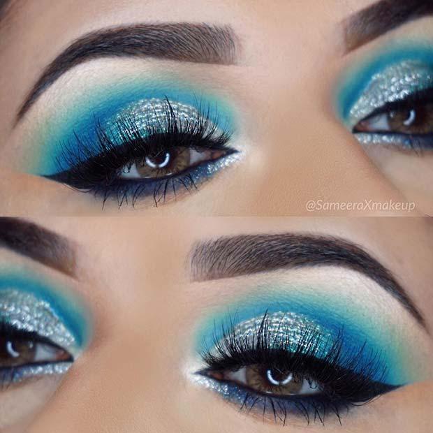 Beautiful Icy Blue Makeup Idea