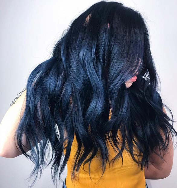 Black Navy Blue Hair