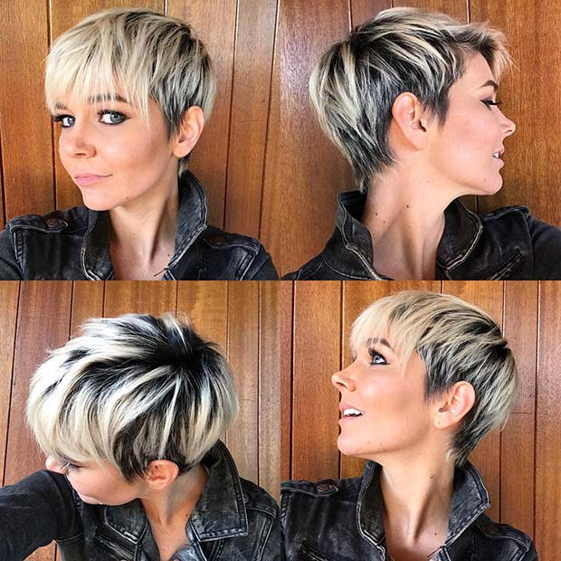 Black and Blonde Pixie Cut